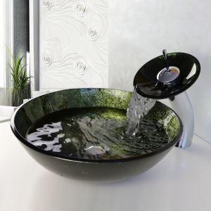 彩色上絵洗面ボウル&蛇口セット 洗面台 洗面器 手洗器 手洗い鉢 排水金具付 HT0345