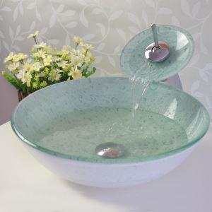 彩色上絵洗面ボウル&蛇口セット 洗面台 洗面器 手洗器 手洗い鉢 洗面ボール 排水金具付 HT0336