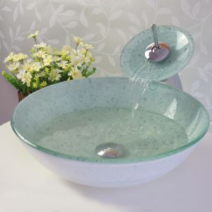 彩色上絵洗面ボウル&蛇口セット 洗面台 洗面器 手洗器 手洗い鉢 排水金具付 HT0336