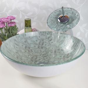 彩色上絵洗面ボウル&蛇口セット 洗面台 洗面器 手洗器 手洗い鉢 排水金具付 米ドル