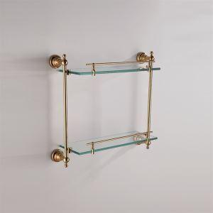 化粧棚 シェルフ ガラス棚 浴室棚 バスアクセサリー 浴室収納 Ti-PVD 2段