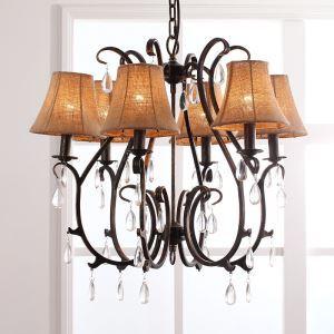 レトロなシャンデリア 照明器具 天井照明 北欧 アンティーク クリスタル付 6灯