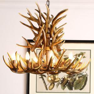 鹿角シャンデリア ペンダントライト 照明器具 寝室 リビング 店舗 樹脂製 9灯 茶褐色 北欧風 LED電球付