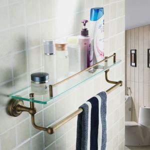 化粧棚 シェルフ ガラス棚 浴室棚 バスアクセサリー 浴室収納 ブラス色