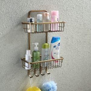 シャンプースタンド シャワーラック 浴室収納 真鍮製 ブラス色 2段