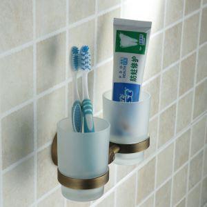 歯ブラシホルダー 歯ブラシスタンド カップ付き 収納 真鍮製 ブロンズ