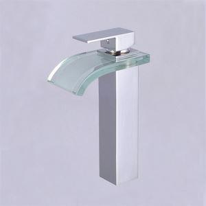 洗面用蛇口 バス水栓 水道蛇口 混合水栓 ガラス製滝状吐水口 ヘアライン