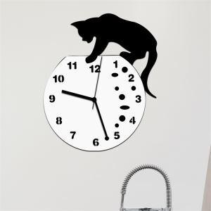 壁掛け時計 静音時計 いたずら猫 アニマル時計 アクリル製