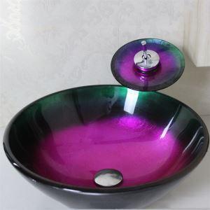洗面ボウル&蛇口セット 手洗い鉢 洗面器 手洗器 洗面ボール 洗面台 ガラス 排水金具付 オシャレ VT4239