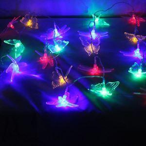 【防雨】ストリングライト LEDイルミネーション 20球LEDライト トンボ&チョウ