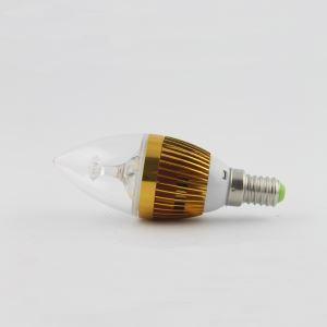 3W E12 LEDシャンデリア電球 電球色・昼光色 270LM AC85-265V 金色