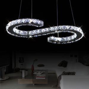 26W LEDペンダントライト 天井照明 クリスタル照明器具 ステンレス製 S状