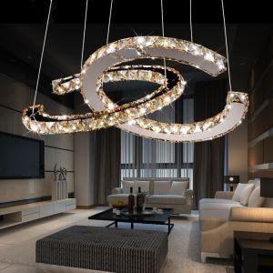 32W LEDペンダントライト 天井照明 クリスタル照明器具 ステンレス製