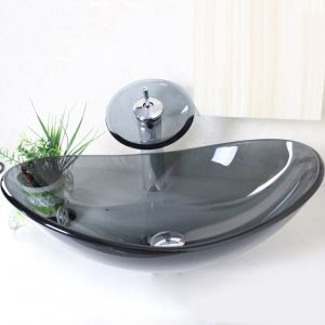 洗面ボウル&蛇口セット 手洗い鉢 洗面器 手洗器 洗面ボール 洗面台 ガラス 排水金具付 オシャレ 透明&灰色 楕円型 VT0003