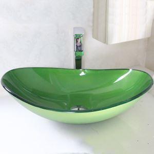 洗面ボウル 洗面台 洗面器 手洗器 手洗い鉢 洗面ボール 排水金具付 芸術的 ミドリ 楕円形 VT0006