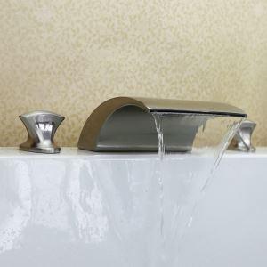 バス水栓 洗面蛇口 浴槽水栓 冷熱混合栓 滝状吐水口 2ハンドル ヘアライン HY494