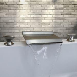 浴槽水栓 浴室用水栓 滝状吐水口 2ハンドル混合栓 光沢