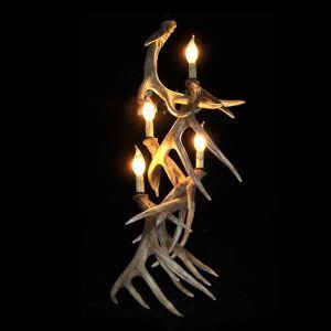 壁掛け照明 ウォールライト ブラケット 鹿角照明 玄関照明 樹脂製 樹脂製 茶褐色 4灯 LED対応 W5L4N1