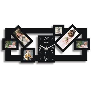 【壁掛け時計】フォトフレーム付写真6枚収納と時計が一体♪