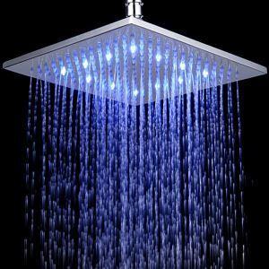 3色LEDヘッドシャワー シャワー水栓 温度センサー付 25cm(0913-8105)