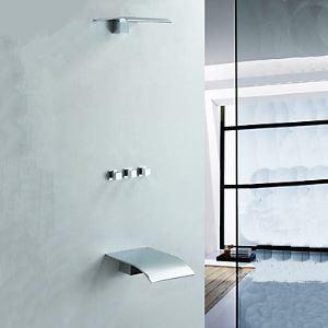埋込形シャワー水栓 レインシャワーヘッド ヘッドシャワー+滝状吐水口蛇口 クロム