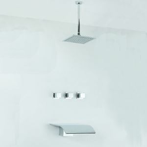 埋込形シャワー水栓 バス蛇口 レインシャワーヘッド+蛇口付き 混合栓 クロム
