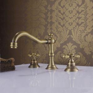 洗面蛇口 バス蛇口 浴室水栓 2ハンドル混合栓 滝状吐水口 ブロンズ