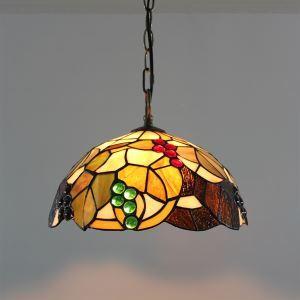 ペンダントライト ステンドグラスランプ ティファニーライト リビング照明 ダイニング照明 寝室照明 ブドウ柄 2灯 D40cm
