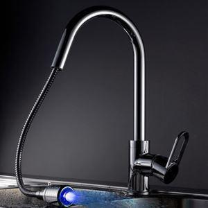 3色LEDキッチン用蛇口 引出し式 冷熱混合水栓