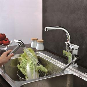 キッチン蛇口 台所蛇口 引出し式水栓 2吐水口水栓 クロム