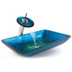 彩色上絵洗面ボウル&蛇口セット 洗面台 洗面器 手洗器 手洗い鉢 排水金具付 角型(0917-VT4032) 翌日発送