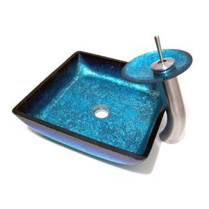 洗面ボウル&蛇口セット 手洗い鉢 洗面器 手洗器 洗面ボール 洗面台 ガラス 排水金具付 オシャレ 四角型