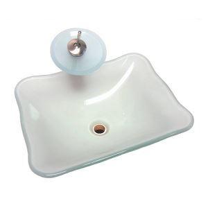 洗面ボウル&蛇口セット 手洗い鉢 洗面器 手洗器 洗面ボール 洗面台 ガラス 排水金具付 四角型