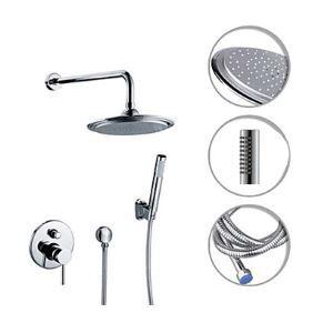 埋込形シャワー水栓 シャワーシステム バス蛇口 ヘッドシャワー+ハンドシャワー 混合栓 クロム