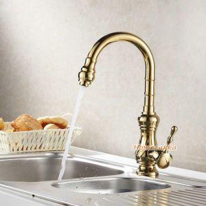 キッチン蛇口 台所蛇口 冷熱混合水栓 金色 Ti-PVD