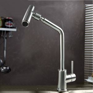 キッチン蛇口 台所蛇口 冷熱混合水栓 回転可能 光沢