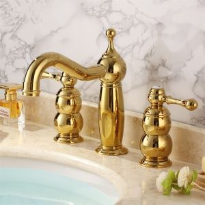バス水栓 洗面蛇口 浴室水栓 水道蛇口 2ハンドル混合栓 Ti-PVD