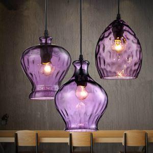 ペンダントライト ガラス製照明 天井照明 玄関照明 紫色 3灯