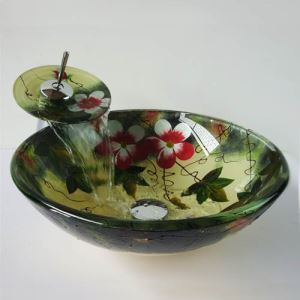 彩色上絵洗面ボウル&蛇口セット 洗面台 洗面器 手洗器 手洗い鉢 排水金具付 花柄 円形