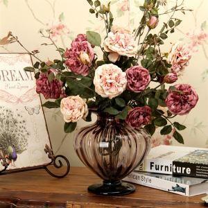 造花 パープル&ピンク牡丹 花瓶付き
