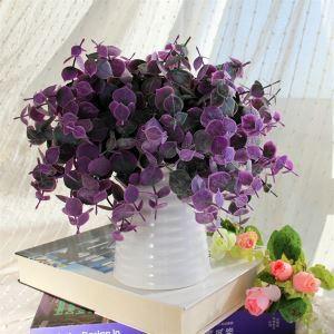造花 紫色葉 花瓶付き