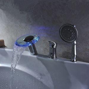 3色LED浴槽蛇口 シングルレバー混合水栓 ハンドシャワー付