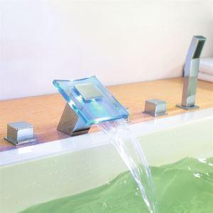 3色LED浴槽蛇口 3ハンドル混合水栓 ハンドシャワー付