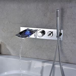 3色LED浴槽蛇口 壁付水栓 ハンドシャワー付き