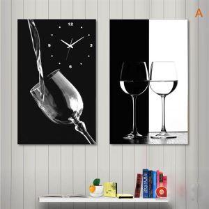 壁掛け時計 壁絵画時計 静音時計 壁飾り ワイン&杯 2パネル A/B/C/D