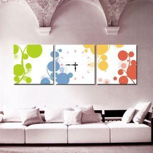 壁掛け時計 壁絵画時計 静音時計 壁飾り オシャレ 3枚パネル 泡