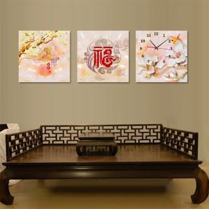 壁掛け時計 壁絵画時計 静音時計 壁飾り おしゃれ 3枚パネル 福