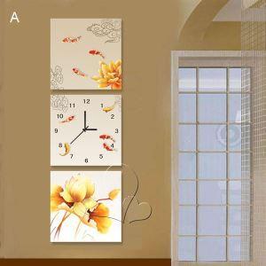 壁掛け時計 壁絵画時計 静音時計 壁飾り おしゃれ 3枚パネル 金魚 A/B