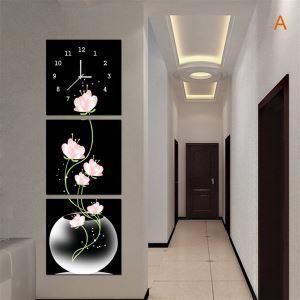 壁掛け時計 壁絵画時計 静音時計 キャンバス時計 壁飾り おしゃれ 3枚パネル 蓮の花 A/B