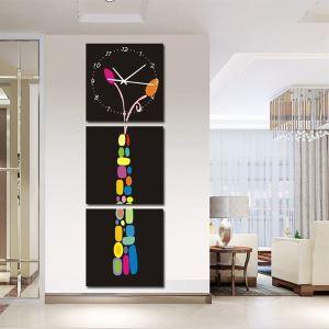 壁掛け時計 絵画時計 静音時計 壁飾り オシャレ 3枚パネル 幾何